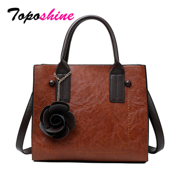 Toposhine Autumn New Vintage Flower Lady Casual Tote PU Leather Women Handbag Fashion Girl Large Shoulder Bags 2018